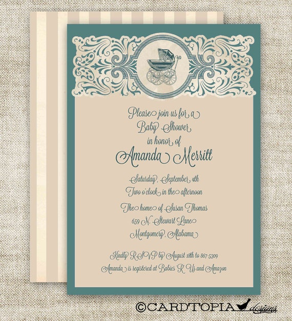 Vintage Baby Boy BABY SHOWER Invitations Baby by ...
