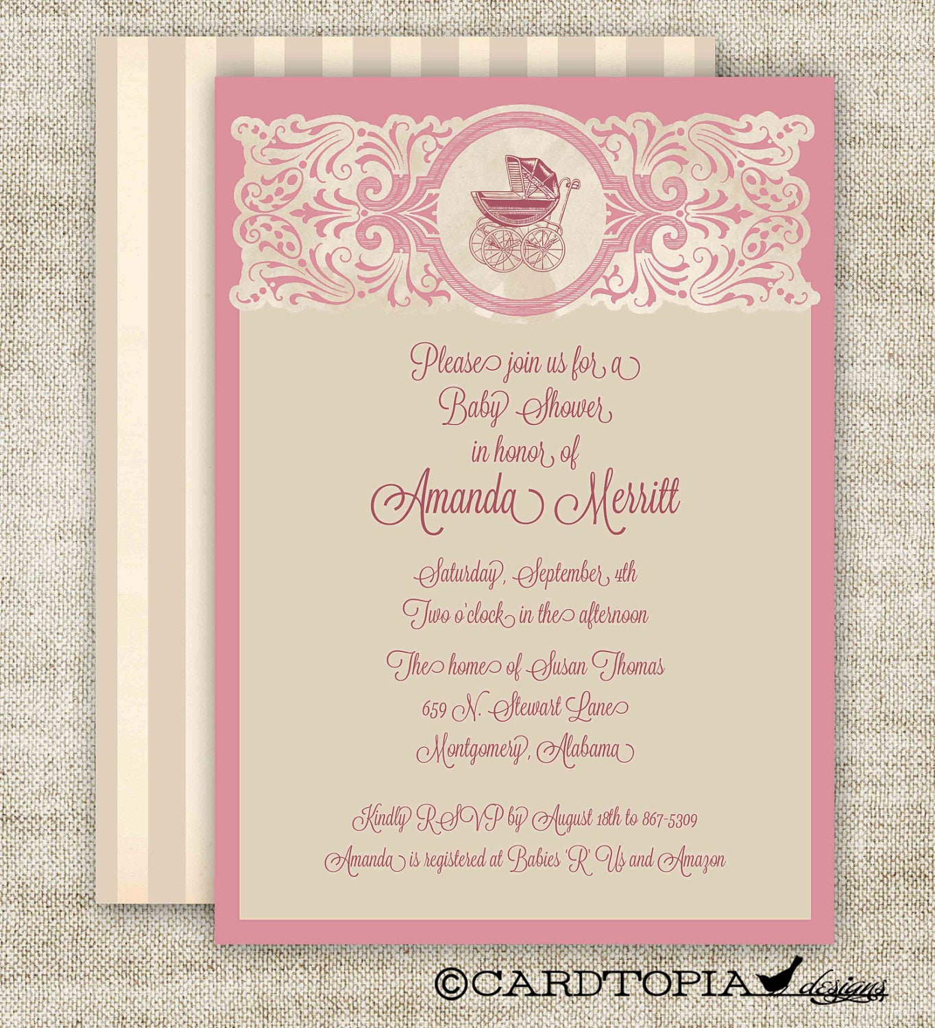 Vintage Baby Shower Invitations ~ Vintage baby girl shower invitations by