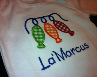 Fish Applique Shirt for Boy or Girls - String of Fish Summer Shirt