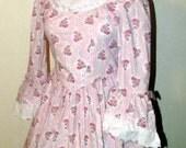 Lovely VICTORIAN Eyelet BELL SLEEVE Full Skirted Party Tea Dress