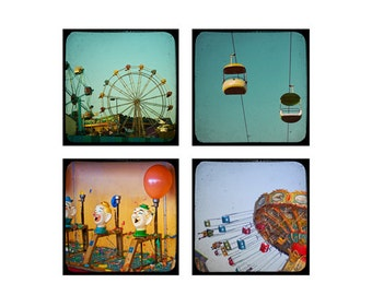 Carnival Decor Photography Set, Santa Cruz Beach California Photos, Beach Prints - Boardwalk TTV (5x5) Fine Art Carnival Photograph Set