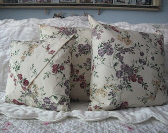 Pillow Set of 3 Decorator Muted Tan Check Fabric with Gold Burgundy and Purple Flowers Home Decor