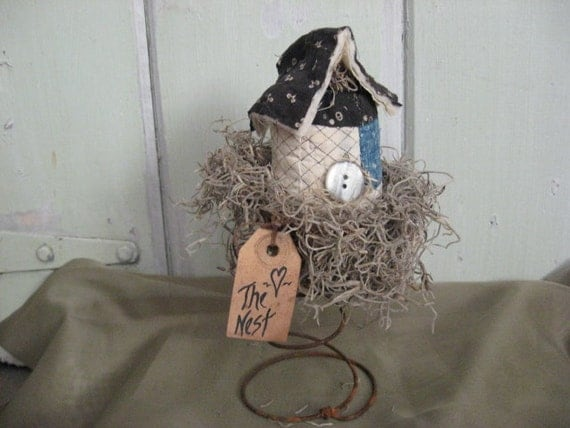 Old Quilt Bird House in Rusty Bed Spring Grungy Tag Off  White Black Blue Gray Button