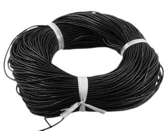 s00395 -  black - 5 metres Round Cowhide Leather Cord, Leather Jewelry Cord, about 2mm in diameter