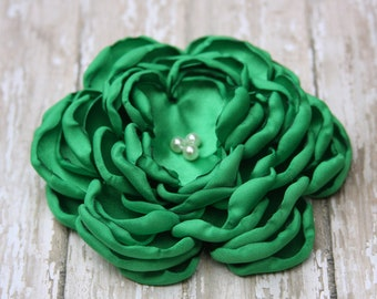 30 Colors Large Satin Flower Pin, Kelly Green Satin Flower Pin