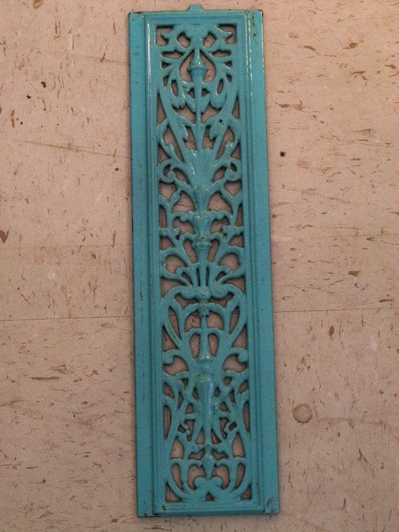 RESERVED for Kathleen vintage grate Enamel over Cast Iron Sea Foam Green Blue ORIGINAL