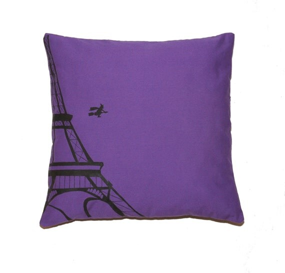 A Witch Leaving the Paris Eiffel Tower - Halloween Black and Violet Printed  Cushion Pillow Cover