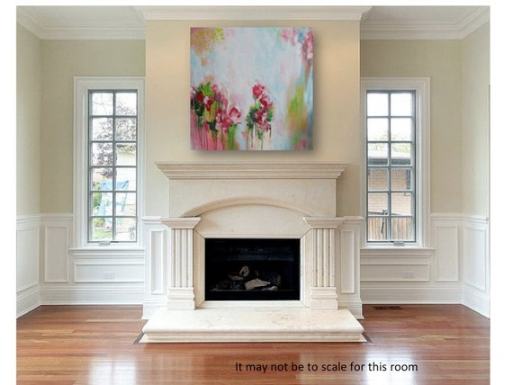 Floral Acrylic Original Painting on 24 x 24  Canvas - Shabby Chic Decor - Cottage Style - Bohemian Painting