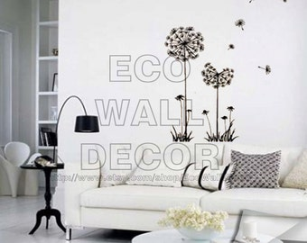 PEEL and STICK Removable Vinyl Wall Sticker Mural Decal Art - Black Dandelion in the Wind