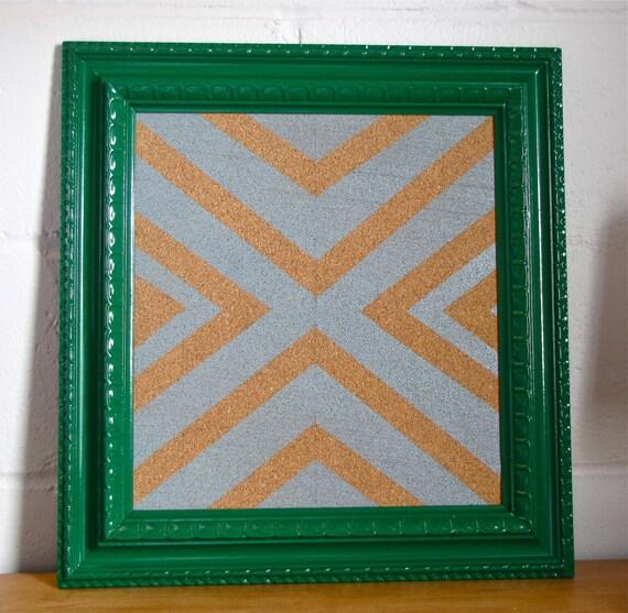 Gray Chevron and Glossy Kelly Green Cork Board Frame