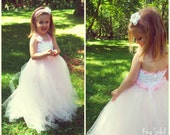 Flower Girl Tutu Dress Crochet Bodice Ballerina Pink and White Special Occasion Full Length Size Infant to Toddler Size 4