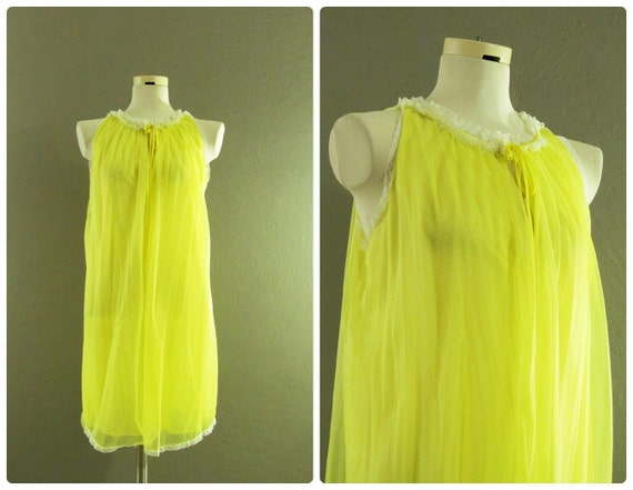 Vintage 60s Nightgown Lingerie Chiffon Van Raalte in Yellow M L