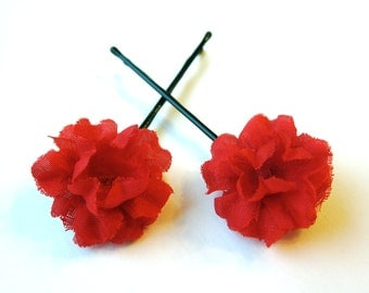 Crimson Hair Flowers - Set of 2 Red Flower Hairpins