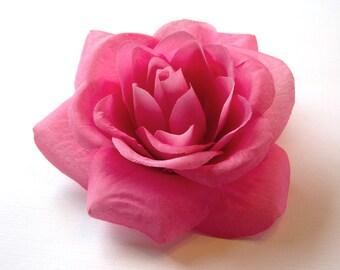 Pink Rose Hair Flower or Pin - Bridesmaid Flower Hair Accessory