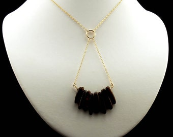 "Printology ""Eagle Tail"" Bronzite and Gold Fill Necklace"