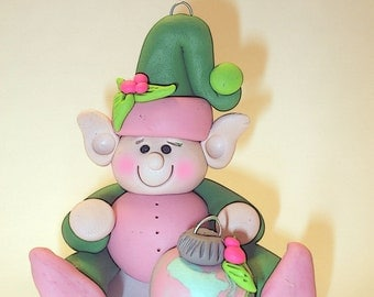 Polymer clay ornament elf in in pink and green with a clay ornament, 2017 keepsake, handmade gift, debbies clay babies