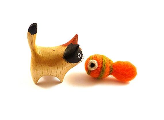 SALE - Orange and Green Striped Wool Fish Catnip Cat Toy