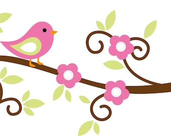 Kids tree branch with birds vinyl wall decal