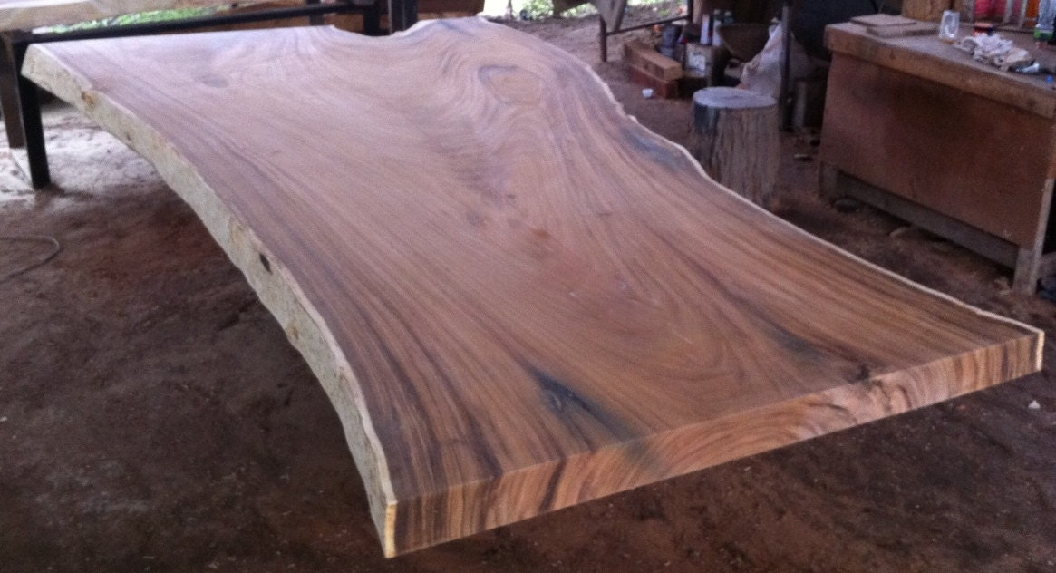 zoom. Live Edge Dining Table Top Reclaimed Golden Acacia Wood Of