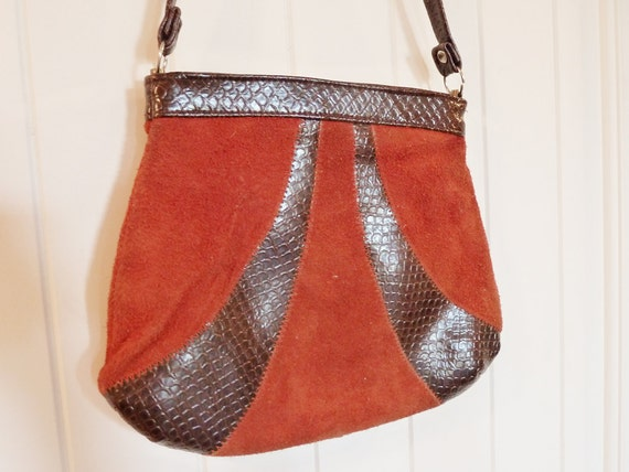 Vintage 1970s Rust Brown Red Snake & Suede Leather Purse