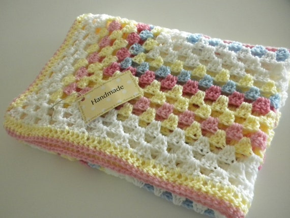 Baby Blanket Crochet Multi Color Yellow, Blue, White, Pink Child Stroller Carriage Car Size 27x 27 Brand New Handmade FREE SHIPPING