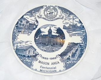 Mason Area Centennial Michigan Souvenir Plate Vintage