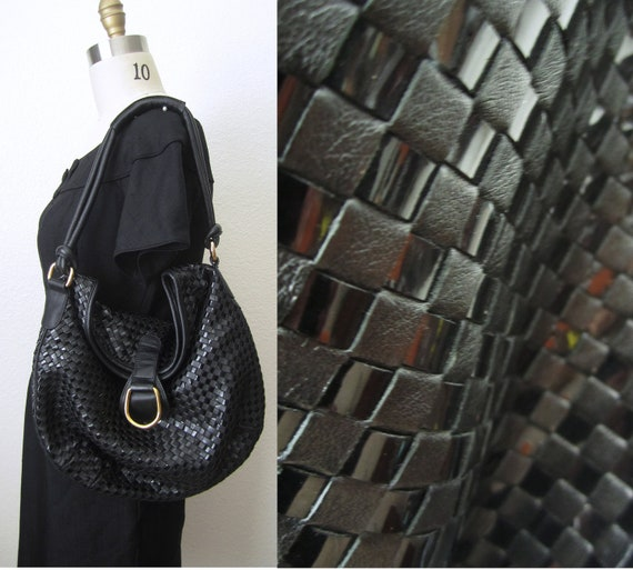Vintage 80s Big Slouchy Shoulder Bag // Handbag // Purse // Tote // Woven BLACK leather and Patent Leather