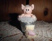 """Polymer Clay Pig -""""Rubba Dub Dub Little Piggy in a Tub"""" Figurine/Gift -RESERVED FOR pamc2"""