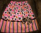 Custom made skirt in Pink/Brown/white contrasting fabrics