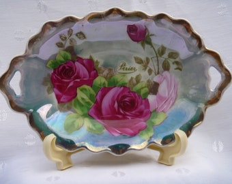 Royal Vienna Handpainted Porcelain Dish Roses Perier Royal Vienna