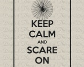 Halloween Keep Calm and Scare On Spider Web Typography Printable Digital Download for Iron on Transfer Fabric Pillows Tea Towels DT256