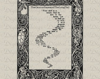 Alice In Wonderland Race Long Tail Poem Wall Decor Art Printable Digital Download for Fabric Iron on Transfer Fabric Pillow Tea Towel DT1036