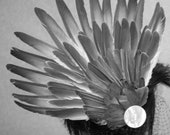 OOAK Brown Dove Feather Fascinator with vintage button - victorian grunge