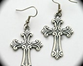 Silver Cross Earrings of French Design, Classic Vintage Silver