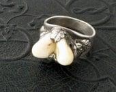 Antique Ring Tooth Jewelry. Oak Leaves. Deer Teeth. Austrian. Mens.