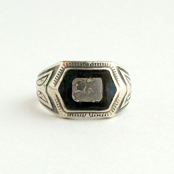 Sterling Mens Ring . 1933. Blue Black Enamel. New Deal. Possibly Civilian Conservation Corp.
