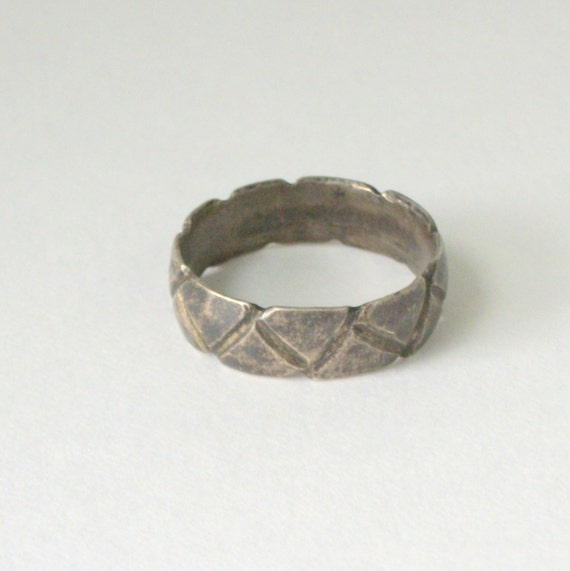 Mens Prison Ring Made From a Silver Coin . Geometric Chevron Triangles . Chunky .