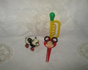 Children's Toys Lot of 3 Plastic Horn Panda Mickey Mouse Scissors