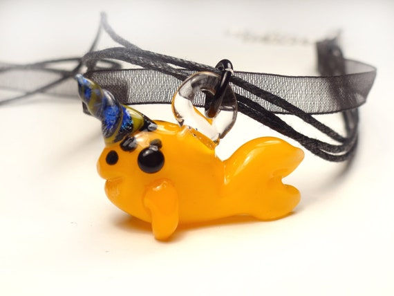 Happy Little Narwhal Pendant -  Orange Spotted with Dichroic Twisted Horn