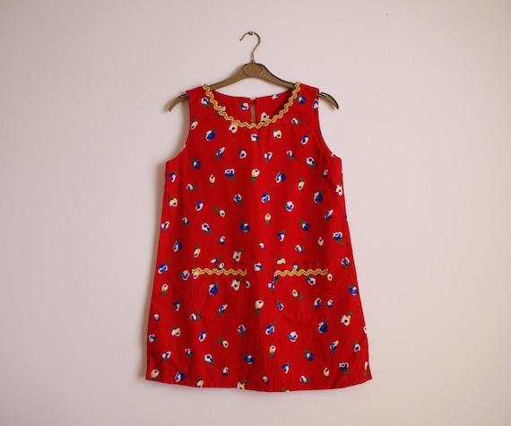 Cherry Red Mini Dress with Ric-Rac Trim XS/S