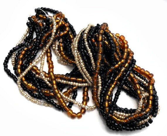 1 Hank 10 Strands Variety Glass Seed Beads Black, Golden Brown, Off White