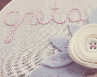Nursery Name Sign, Grey and White, Neutral Baby Room, Playroom, Embroidery Hoop  Art, Custom Wall Decor, Cursive Font,  Infant Newborn Gift