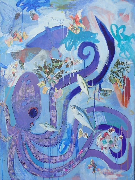 "Octopus Flies with the Butterflies, original 30"" x 40"" painting on wooden panel. with wire, painted sides. blue, purple, ocean, sea"