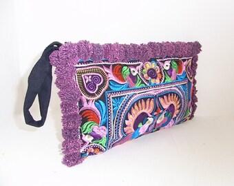 Wristlet Candy Birds Pom Pom Hill Tribe Fabric Vintage Fashionable Clutch Purse Handmade Thailand (BG810P-MUB9)