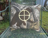 "Camouflage, Bear in Crosshairs, Accent Pillow, Man Cave Pillow Cover, 16"" x 16"""