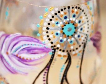 Hand Painted Wine Glass: Native American Inspired- Feathers & Dream Catcher