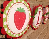 Strawberry Theme Birthday Banner Party Banner Highchair Banner and Green