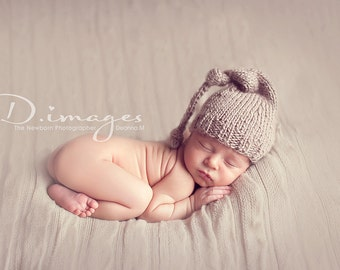 READY to SHIP Sand Castle Hat,Choose Color, newborn photography prop-taupe sand knitted long baby hat, night cap with knots, baby photo prop