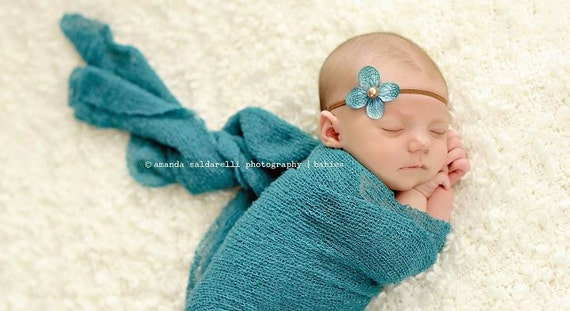 newborn photography prop-brown skinny elastic halo headband with teal flower, baby shower gift,  baby photo prop