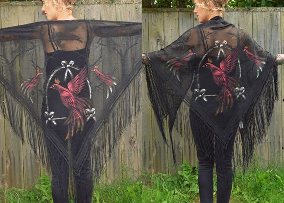 1940's Hand Painted Gypsy Rooster Dramatic Fringe Shawl